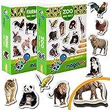 Magdum 2 Sets Foto Granja+ Zoo Animales Imanes de Nevera (35 Piezas) para Niño -Magnético Educational Aprender Juguete Bebé 3 años- Cocina Imán- CUMPLEAÑOS O Navidad Regalo Conjunto