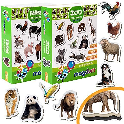 Magdum 2 Sets Foto Fattoria+ Zoo Animali Frigo Calamite (35 PZ) per Bambino Ragazzo- Magnetico Giocattoli Educativi per Bambini 3 Anni- Cucina Magnete- Compleanno O Natale Regalo Set