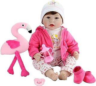 Aori 本物そっくり リボーンドール リアルなビニール人形 22インチ 赤ちゃん用おもちゃ ピンクのフラミンゴ付き