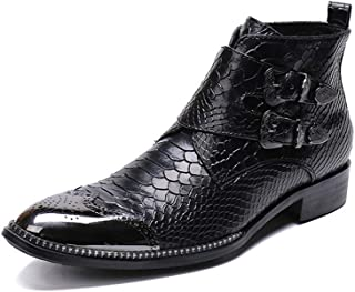 Rui Landed Men's Custom-Made Ankle Boot Casual Retro Snakeskin Texure Metal Pointed Toe High-top Convenient Zipper Formal Shoes (Color : Black, Size : 10 M US)