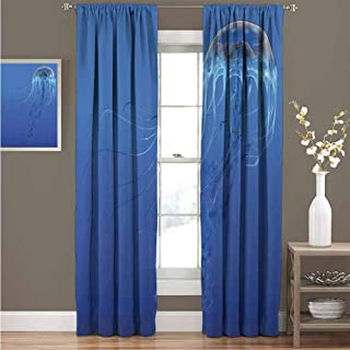 EDZEL Bedroom Curtains, Great for Living Rooms and Bedrooms, Jellyfish, Blue Spotted Jelly Fish Aquarium Life Marine Animals Ocean Predator in Deep Water Aquatic, 108
