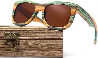 CZA - CZA Hecho a Mano para Hombre de Las Gafas de Sol de bambú del Brazo de Madera con Patas de Madera y Lentes polarizadas Gafas de Madera,Marrón