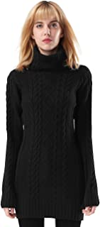 ninovino Women's Sweater Jumper - Turtleneck Long Sleeve Cable Knit Black S (Thickening)