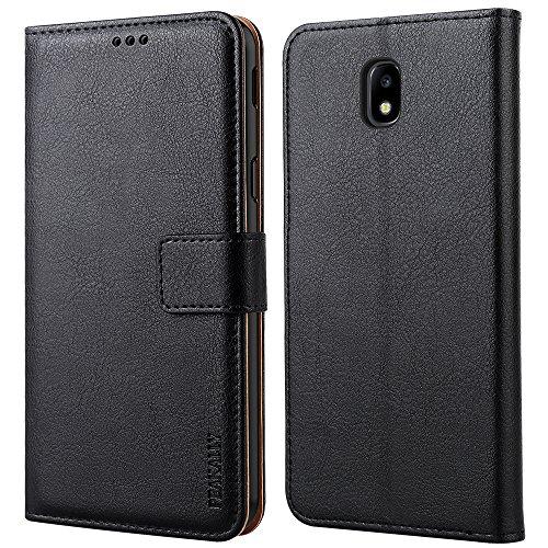 """Peakally Cover per Samsung Galaxy J3 2017, Flip Caso in PU Pelle Premium Portafoglio Custodia per Samsung Galaxy J3 2017 5.0"""", [Kickstand] [Slot per Schede] [Chiusura Magnetica]-Nero"""