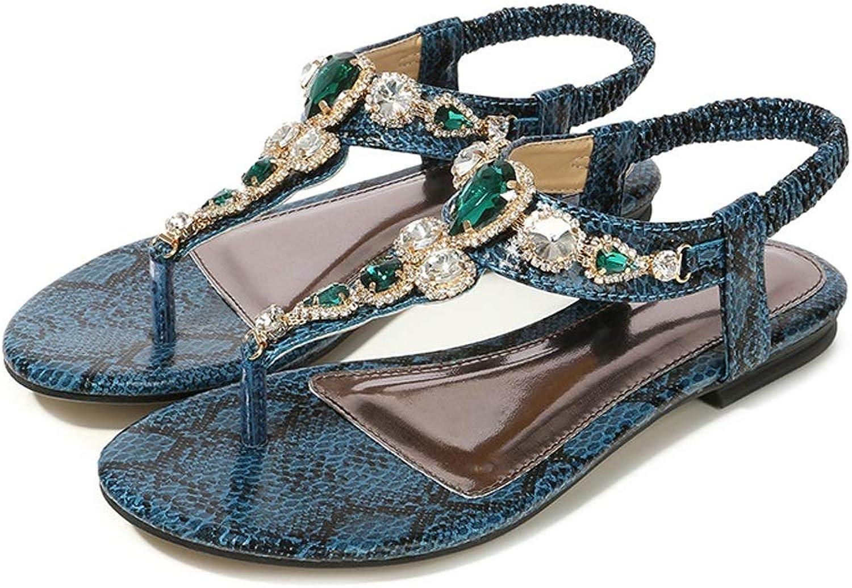 ZHAO ZHANQIANG Thong Beach shoes National Feng Shui Beaded Flat shoes Snake Bohemian Sandals