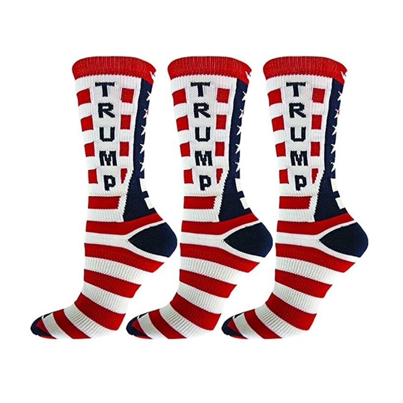 3 Pairs Presidential Donald Trump Crew Socks Flag Red White Blue