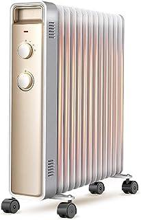 Heater Stereo 3D Calefacción Eléctrica Radiador Ahorro De Energía Seguridad Radiador De Calefacción con Tendedero Y Humidificación Caja For La Oficina Y Dormitorio, Oro