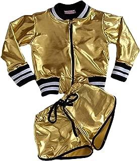 Toddler Kids Girls Metallic Clothes Long Sleeve Bling Jacket Coat Short Pants 2PC Tracksuit Outfits Set