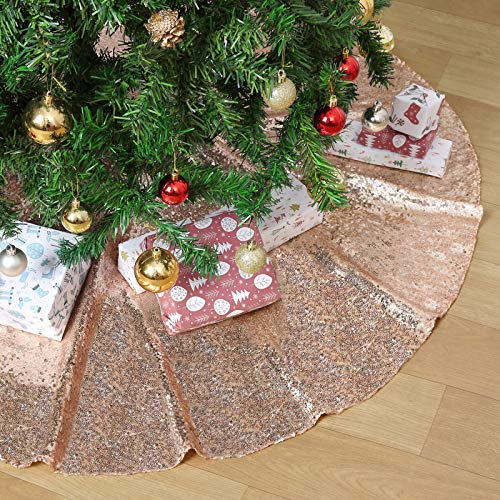 B-COOL Christmas Tree Skirts Festivel Tree Mats Glitter Fabric Christmas Tree Skirtings Holiday Tree Ornament Rose Gold 24inches