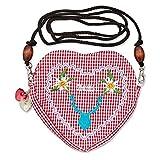 Edelweiss - Bolsa para traje regional tirolés con forma de corazón y cordón largo extraíble Mausi cabeza de ciervo rojo