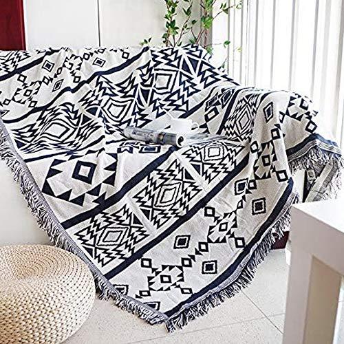 shangji Manta Tiro AlgodóN Bohemio con Flecos Suave Boho Manta para Sofá Cama Silla Patchwork Decorativo (C,90 * 180cm)