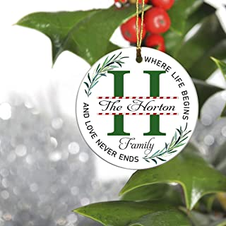 H Monogram Initial Christmas Tree Holiday Ornament - The Horton Family, Where Life Begins and Love Never Ends - 2019 Ideas for Family Ornament 3 Inches
