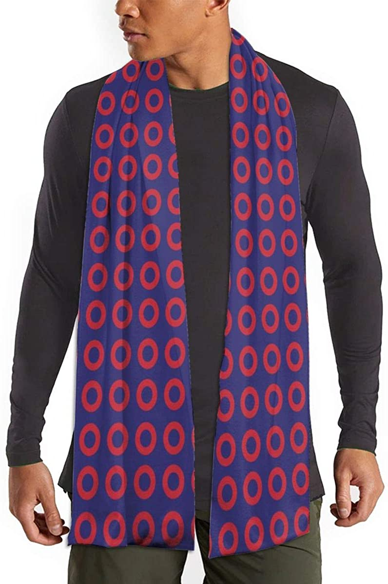 Phish Red Donut Circles On Blue Winter Fall Fashion Scarf Warm Long Soft Neckerchief For Men And Women