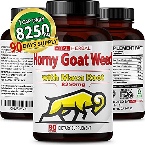 Horny Goat Weed - 90 Capsules 8250mg Maximum Strength with Maca Root Tribulus Ashwagandha Tongkat Ali Panax Ginseng for Men Women - 3 Months Supply
