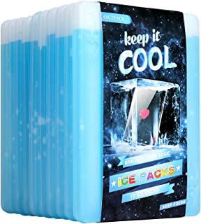 OICEPACK Ice Packs for Lunch Box - Freezer Ice Packs - Slim Long Lasting Cool Packs for Lunch Bags and Cooler, Set of 10, Poker Design (Heart)