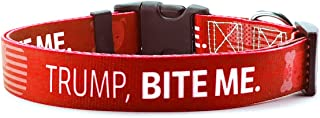 NO TREAT FOR TRUMP - TRUMP, BITE ME   Anti-Donald Trump Collar for Small Medium Large Dogs   Made in USA