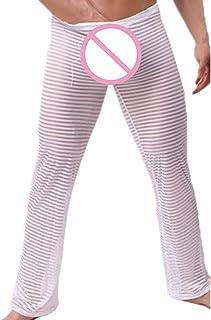 076d9cf977f52 Homme Vêtements de Nuit Pantalons de Pyjama Transparents à Rayures  Transparentes Sexy pour Hommes