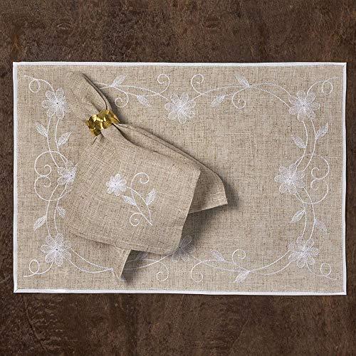 Jogo Americano com guardanapo retangular bordado - Rafimex, Bege