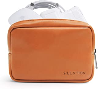 LENTION Split Leather Carrying Storage Pouch, Universal Electronic Accessories Sleeve Case for Laptop/Tablet Power Adapter, MacBook Air/Pro Charger, Wireless Mouse, Mac Gadget and More (Brown)