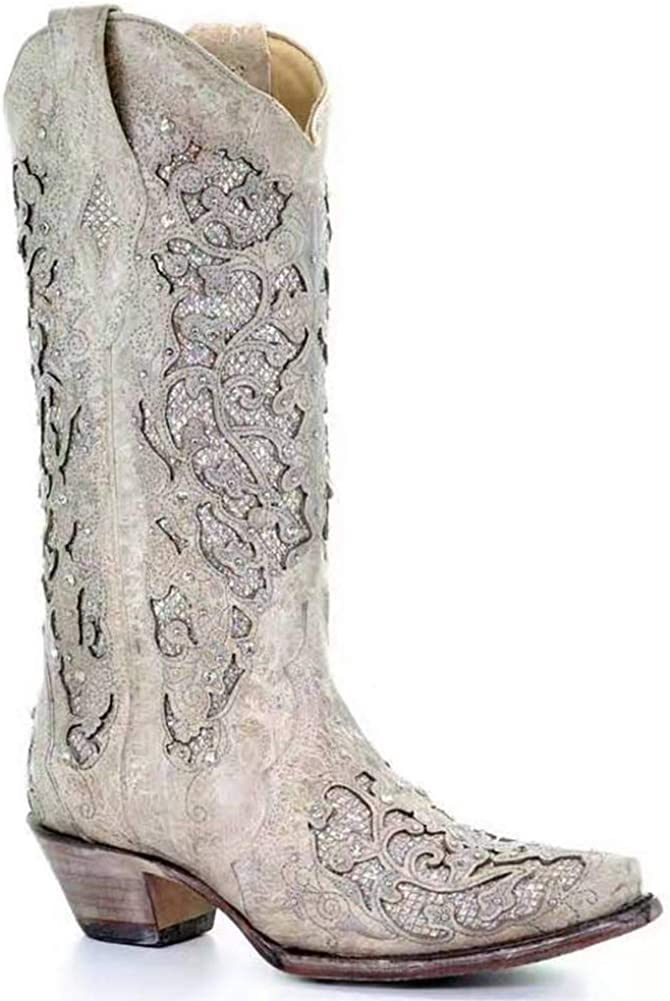 SO SIMPOK Women's Retro Printed Western Cowgirl Cowboy Boots Embroidered Mid Calf Chunky Heel Boots