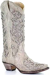 Women's Sunflower Printed Boots Chunky Heels Cowgirl...