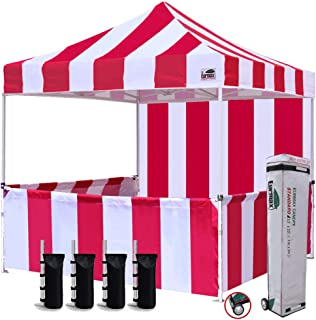 Eurmax 10'x10' Ez Pop-up Booth Canopy Tent Commercial Instant Tent with 1 Full Sidewall & 3 Half Walls and Roller Bag, Bonus 4 SandBags&3 Cross-Bar(Stripe Red/White)