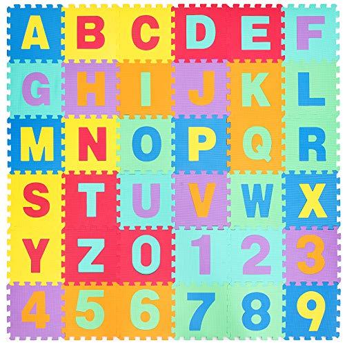 COSTWAY Tappeto Puzzle per Bambini, 36 Pezzi, Tappetino da Gioco in Schiuma EVA, con Alfabeto e Numeri, 31,5 x 31,5 x 1cm