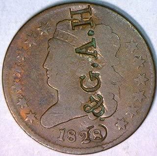 1828 P Classic Head Counterstamp C.&G.A.H; Brunk-6390 Half Cent G-VG