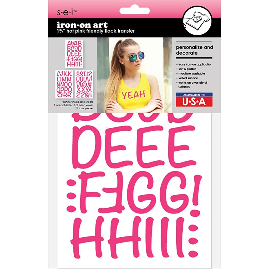 Sei 1 ?-inch Friendly Flock Letters Iron-on Transfer, Hot Pink, 3-Sheet