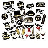 Veewon 60 ° compleanno della foto del partito della foto props unisex divertente 36pcs kit DIY adatto per la sua o la sua celebrazione 60 compleanno Cabina fotografica Puntello