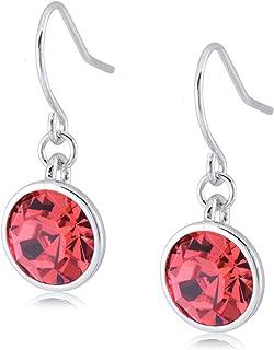 UPSERA Silver Tone Crystals from Swarovski Stone Dangle Drop Earrings