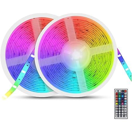 Tira LED RGB 10m, AUELEK 2x5m Tiras LED 12V 300 LEDs Tira LED Exterior con Impermeable IP65/ DIY Color Modos/Cortable/Control Remoto para Techo, Jardín, Casa, Bar, Fiesta, Navidad, Bodas (Blanco)