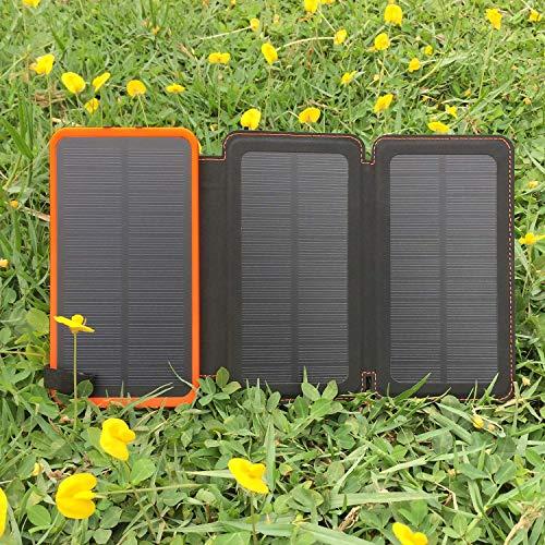 SENLUO Cargador Solar 24000mAh, Impermeable Solar Power Bank Dual USB Salida con 3 Paneles Solares Batería Externa Banco Linternas para iPhone, Samsung y más (Naranja)