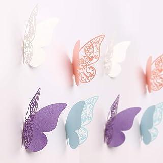 MWOOT 100 piezas mariposas decorativas 3d, mariposas pegatinas de pared decorativas para la decoración de la fiesta de cumpleaños dormitorio de la boda decoración del hogar