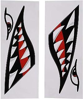 Haifischzähne Mund Aufkleber Fischerboot Kanu Auto Kajak Zubehör, Flying Tigers Decals Shark Teeth Aufkleber Autoaufkleber für Kajak Kanu Beiboot Boot Auto LKW Zubehör