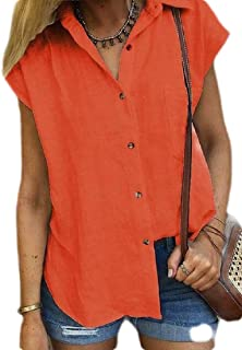 MK988 Womens Loose Button Down Short Sleeve Pure Color Shirt Top Blouse