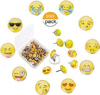 Chinchetas de Mapa,Liuer 100PCS Emoji Chinchetas para muros Corcho para Escuela Trabajo y Familia Tablones de anuncios de corcho oficina Push Pins con Caja de Plastico(11×11mm,Patrón Aleatorio)
