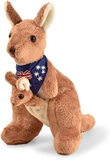 BOHS Plush Red Kangaroo with Australia Scarf and Joey - Huggable Soft Stuffed Mom and Baby Animals Toy- 11 Inches