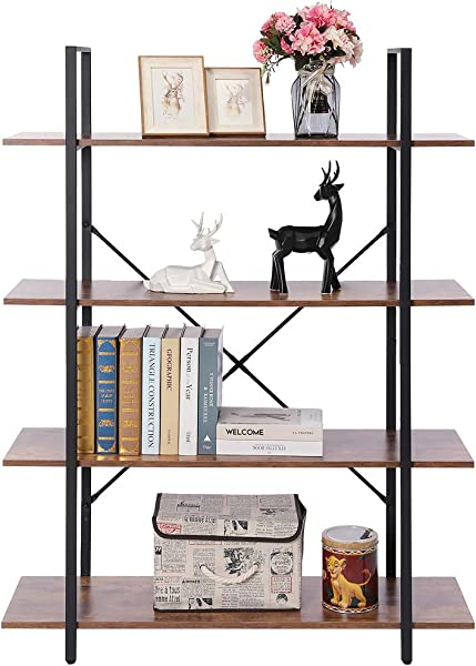 APRILIFE Wooden 4 Tier Bookshelf Bookcase With Metal Frame Storage Rack Shelves Display Shelving For Living Room Bedroom Easy Assemble Rustic Brown