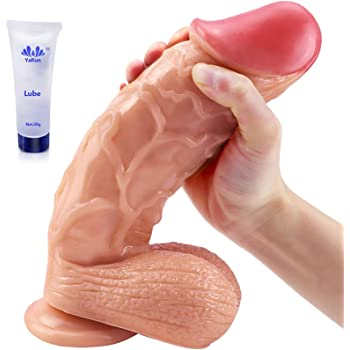 XL Realistic Dildo 9.8 inch Huge Dildo with Testicles and Obvious Glans, Sex Toy with Powerful Suction Cup for Pure Pleasure, You Can Get Into Intense Orgasms (Huge Dildo)