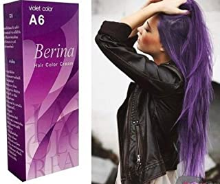 BERINA A6 PERMANENT HAIR DYE COLOR CREAM PURPLE CRAZY FASHIONS PUNK STYLE