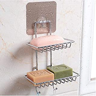 ARLICODECK Wall Mounted Double Layer soap Dish Holder & Dispensers, Self-Adhesive Stainless Steel Waterproof Kitchen Bathr...