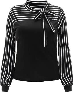 ROMWE Women's Plus Size Striped Bow Tie Neck Long Sleeve Wear to Work Blouse Shirt Top