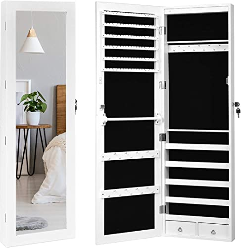 wholesale Giantex 15 LEDs Mirror Jewelry Armoire, Lockable Wall sale Door Mounted Jewelry Cabinet with Full-Length Mirror, Large Storage Capacity Jewelry Organizer Cabinet Armoire for Girls discount Women, White sale