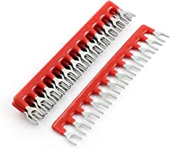 uxcell 5 Pcs Fork Type 12 Postions Terminal Strip Jumper Red 600V 25A