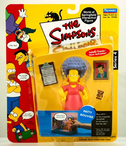 The Simpsons - 2001 - Playmates - Series 4 - Patty Bouvier Action Figure - w/ Accessories - Intelli-tronics Voice Activation - Out of Production - Limited Edition - Collectible