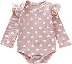 Aunimeifly Newborn Baby Girls Bodysuit Infant Ruffles Long Sleeve Romper Heart Print Clothes Outfits