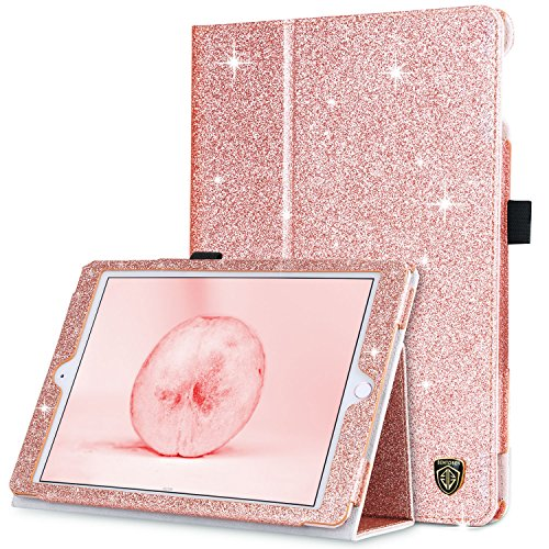 BENTOBEN iPad Air 2 Case, iPad Air 1 Case, iPad 6th Generation Case, iPad 5th Gen Case, Glitter PU Leather Folio Stand Smart Cover Auto Wake/Sleep Case for iPad Air 1/2, iPad 9.7 2018/2017, Rose Gold