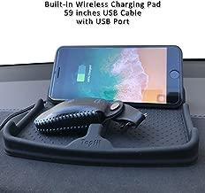 Tesla Wireless Charging Car Dashboard Phone Mount Pad Stand Base,Car Visor Dash Organizer Holder Tray Storage for Sunglasses,Key Chain,Coins,Pens,Cell Phone,GPS Navigator(Black)
