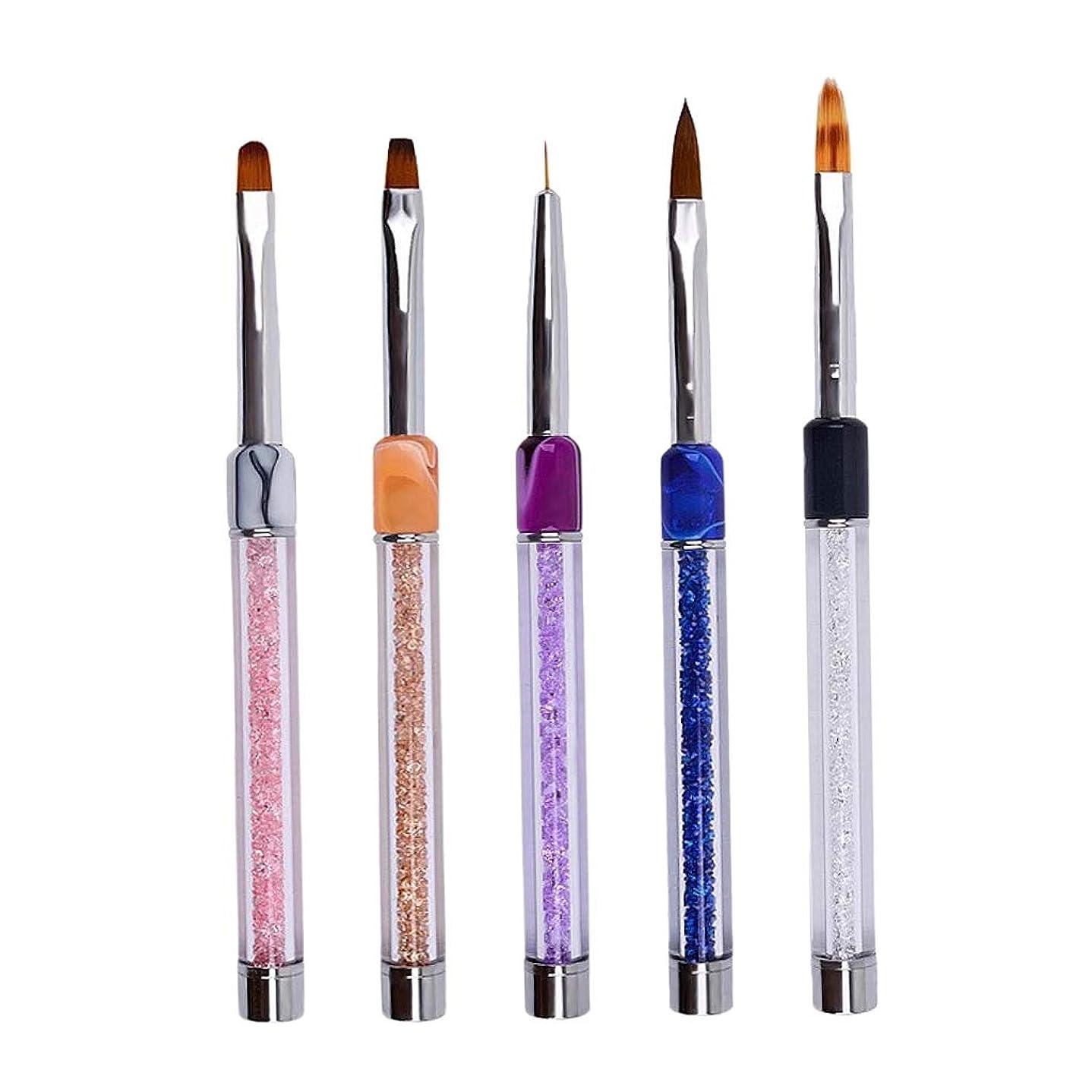 スイウサギ実施するF Fityle 5本 ネイルアートペン ネイル用 ヒント UVジェル ポーランド ネイルアート 絵画ペン ブラシ